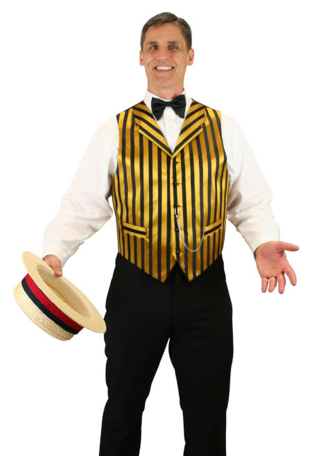 1800s Mens Gold,Black Stripe Notch Collar Dress Vest | 19th Century | Historical | Period Clothing | Theatrical || Ragtime Vest - Black/Gold Stripe