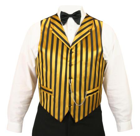 Ragtime Vest - Black/Gold Stripe