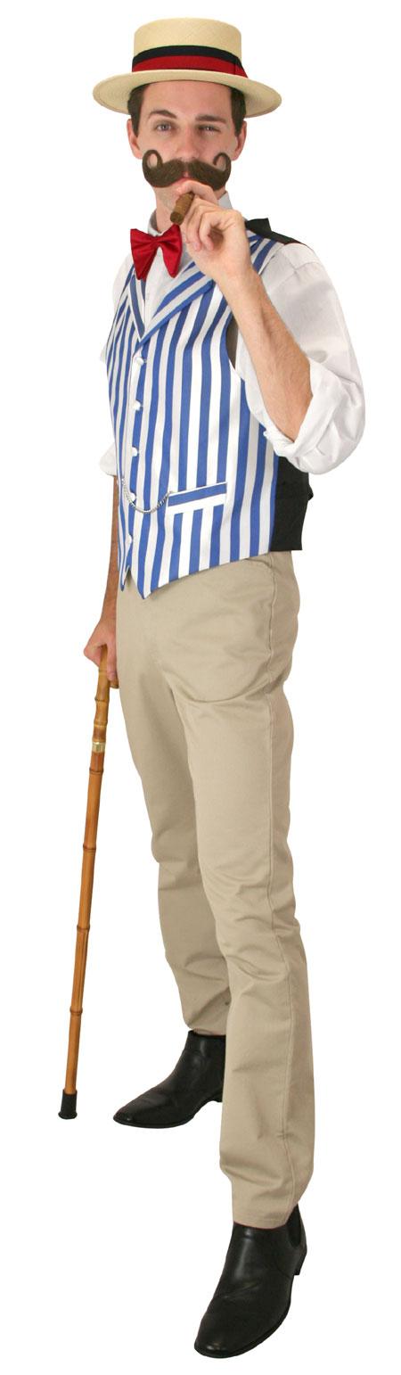 1800s Mens Blue,White Stripe Notch Collar Dress Vest | 19th Century | Historical | Period Clothing | Theatrical || Ragtime Vest - White/Blue Stripe