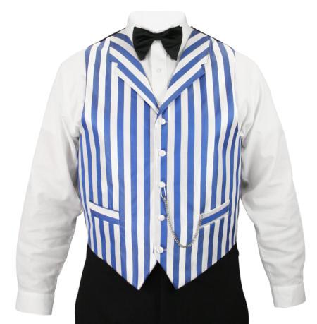 Ragtime Vest - White/Blue Stripe