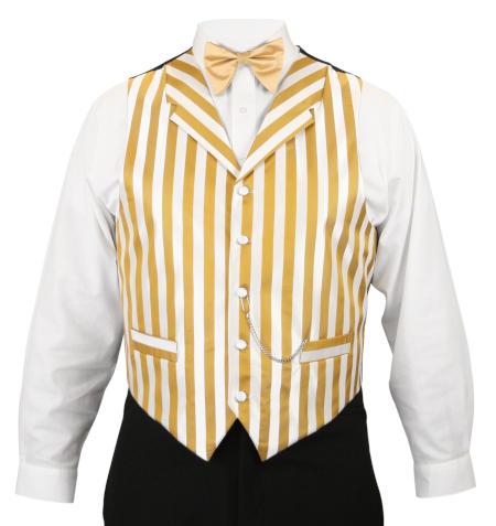 Ragtime Vest - White/Gold Stripe