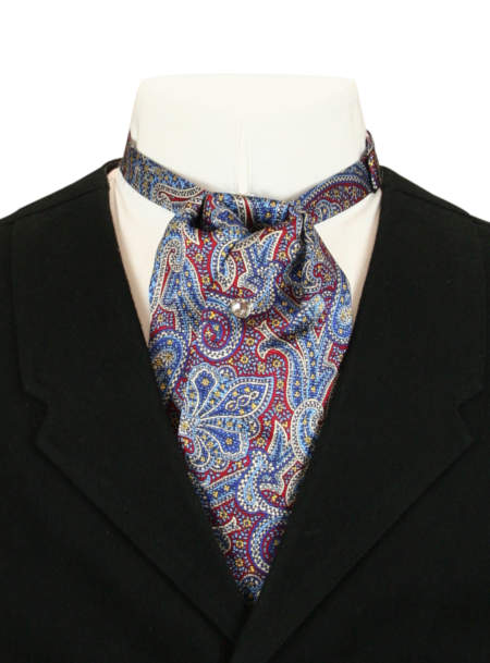 Vintage Mens Blue,Burgundy Silk Paisely Puff Tie   Romantic   Old Fashioned   Traditional   Classic    Silk Puff Tie - Navy and Burgundy Paisley