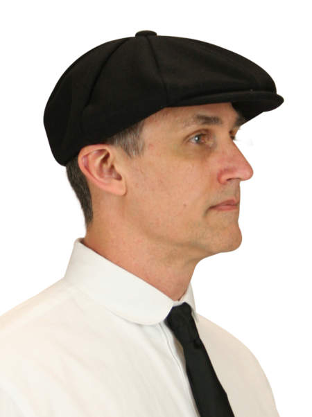 Victorian Mens Black Wool Cap | Dickens | Downton Abbey | Edwardian || Applejack Cap - Black Wool