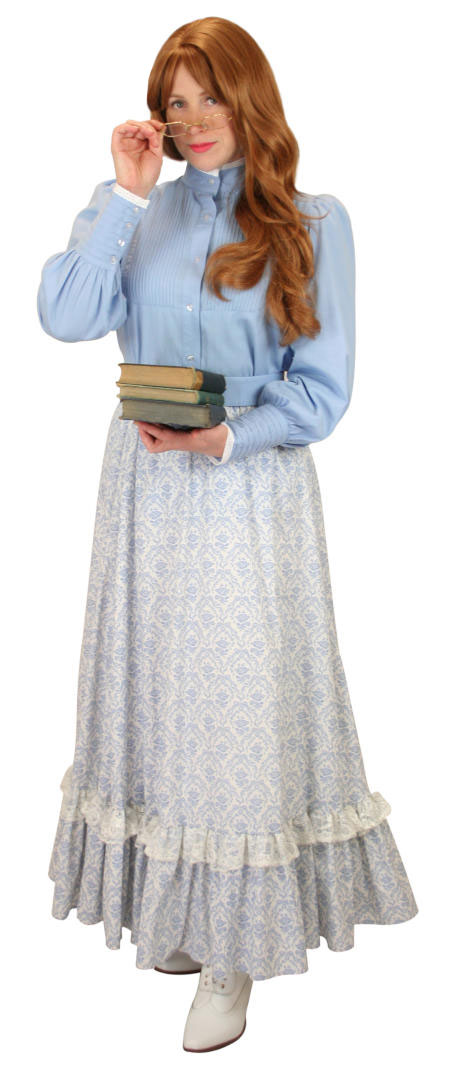 Wedding Ladies Blue Cotton Floral Dress Skirt | Formal | Bridal | Prom | Tuxedo || Millie Skirt - Light Blue