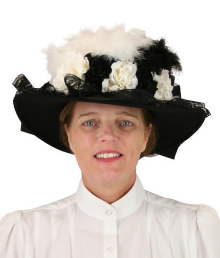 Wedding Ladies White,Black Wool Felt Touring Hat | Formal | Bridal | Prom | Tuxedo || Ladies Victorian Touring Hat - White
