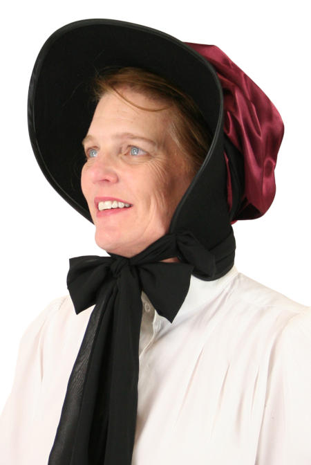 Steampunk Ladies Burgundy,Red Wool Felt,Satin Solid Bonnet   Gothic   Pirate   LARP   Cosplay   Retro   Vampire    Wool Felt Victorian Bonnet - Burgundy