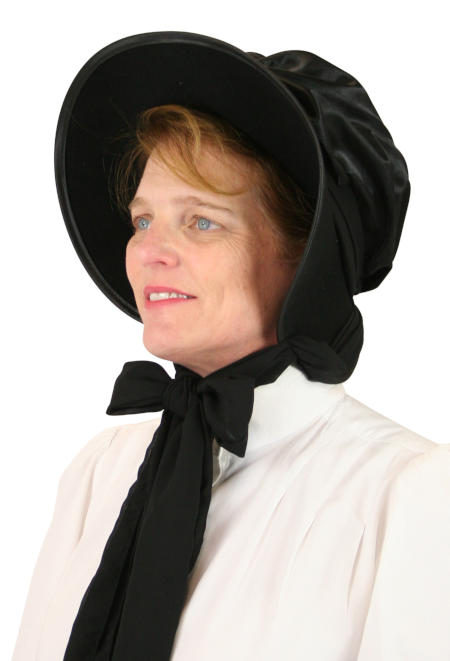 Steampunk Ladies Black Wool Felt,Satin Solid Bonnet | Gothic | Pirate | LARP | Cosplay | Retro | Vampire || Wool Felt Victorian Bonnet - Black
