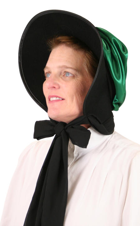 1800s Ladies Green Wool Felt,Satin Solid Bonnet | 19th Century | Historical | Period Clothing | Theatrical || Wool Felt Victorian Bonnet - Green