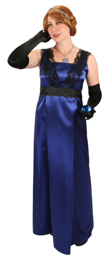 1800s Ladies Blue Solid,Lacy Dress | 19th Century | Historical | Period Clothing | Theatrical || Alexandra Edwardian Dress - Royal Blue