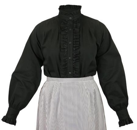 Claudette Ruffle Front Blouse - Black