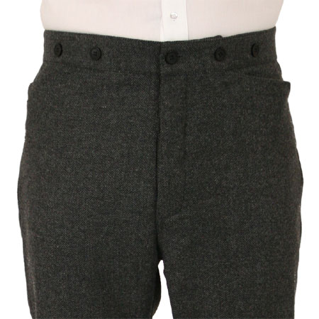 Mens Trousers - Gray Herringbone Tweed