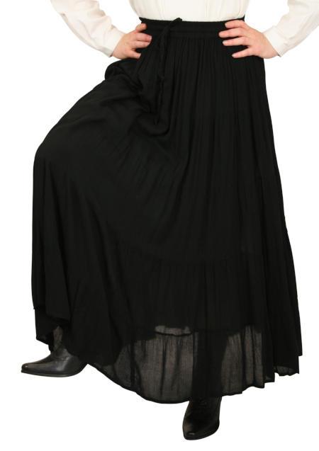 Victorian Ladies Black Solid Work Skirt | Dickens | Downton Abbey | Edwardian || Hestia Broomstick Skirt -  Black Crepe