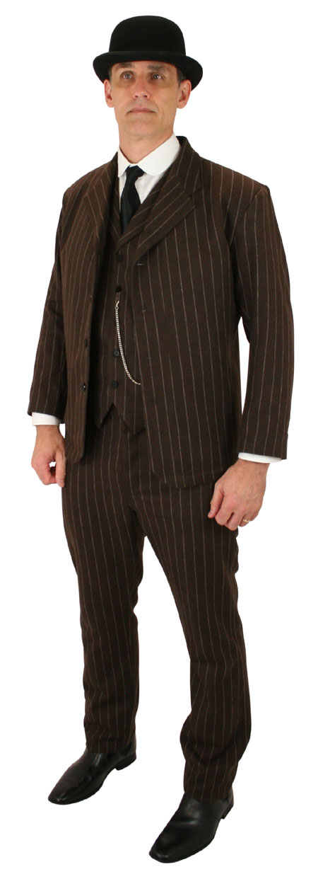 Victorian Mens Brown Wool Blend Stripe Dress Pants | Dickens | Downton Abbey | Edwardian || Bosworth Trousers - Brown Pinstripe