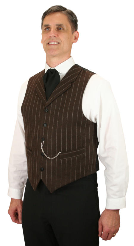 Steampunk Mens Brown Wool Blend Stripe Notch Collar Dress Vest | Gothic | Pirate | LARP | Cosplay | Retro | Vampire || Bosworth Vest - Brown Pinstripe