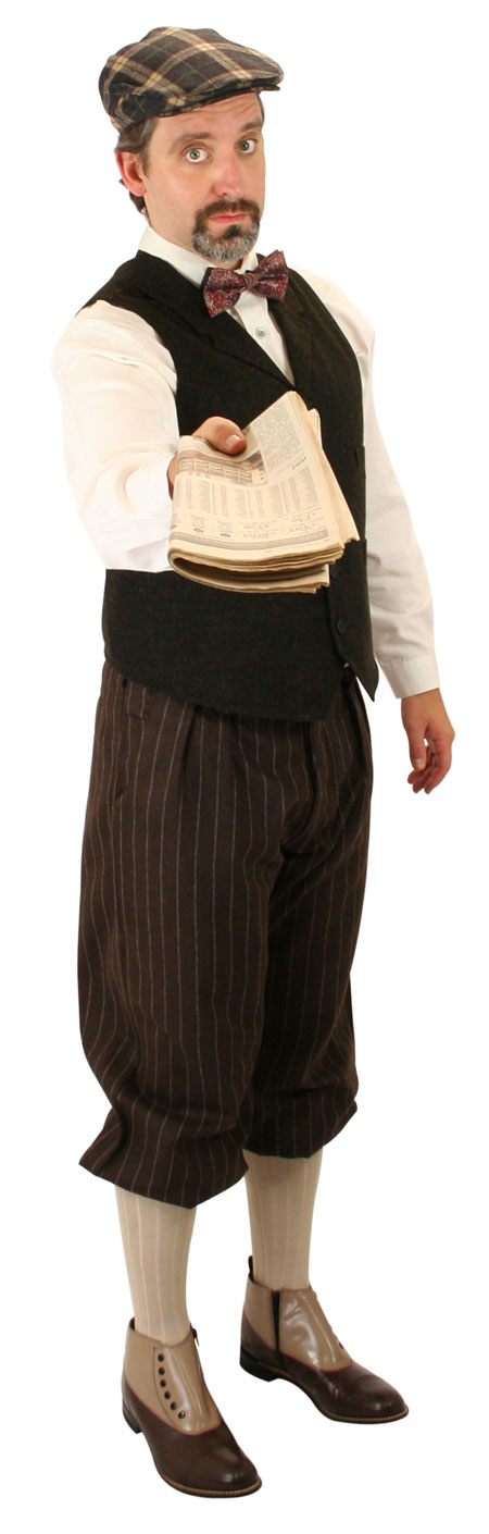 1800s Mens Brown Stripe Knicker | 19th Century | Historical | Period Clothing | Theatrical || Bosworth Knickers - Brown Pinstripe