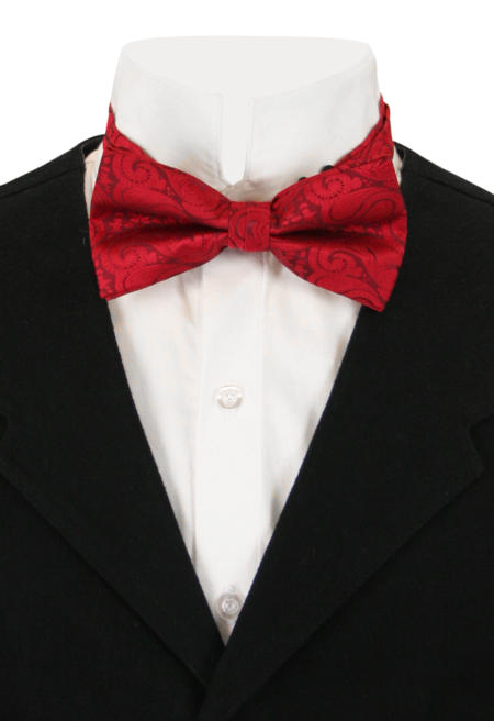 1800s Mens Red Paisely Bow Tie | 19th Century | Historical | Period Clothing | Theatrical || Jubilant Bow Tie - Red Paisley