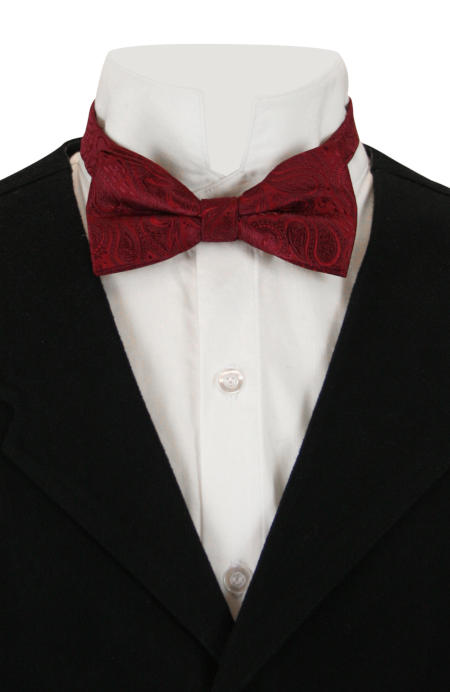Wedding Mens Burgundy,Red Paisely Bow Tie | Formal | Bridal | Prom | Tuxedo || Perky Bow Tie - Burgundy Paisley