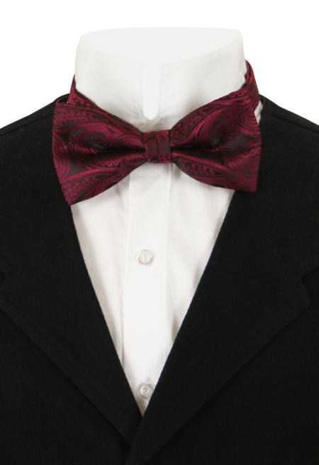 Wedding Mens Burgundy,Red Paisely Bow Tie | Formal | Bridal | Prom | Tuxedo || Stunning Bow Tie - Burgundy Paisley