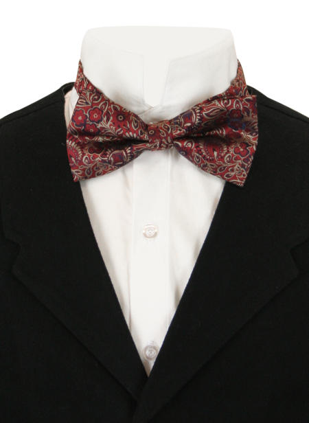 Victorian Mens Burgundy,Red Floral Bow Tie | Dickens | Downton Abbey | Edwardian || Glorious Bow Tie - Burgundy Floral