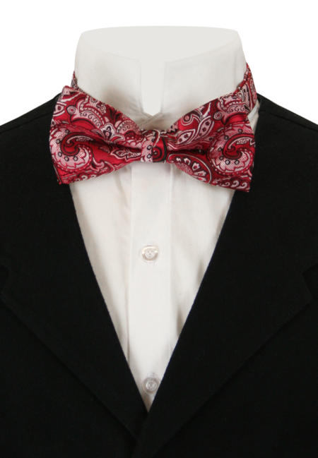 Victorian Mens Red,White Paisely Bow Tie | Dickens | Downton Abbey | Edwardian || Earnest Bow Tie - Red/White Paisley