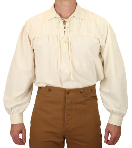 Vintage Mens Ivory Cotton Solid Point Collar Work Shirt | Romantic | Old Fashioned | Traditional | Classic || Frontiersman Shirt - Natural