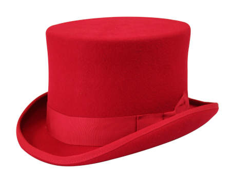 1800s Mens Red Wool Felt Top Hat | 19th Century | Historical | Period Clothing | Theatrical || Deluxe John Bull Top Hat - Red