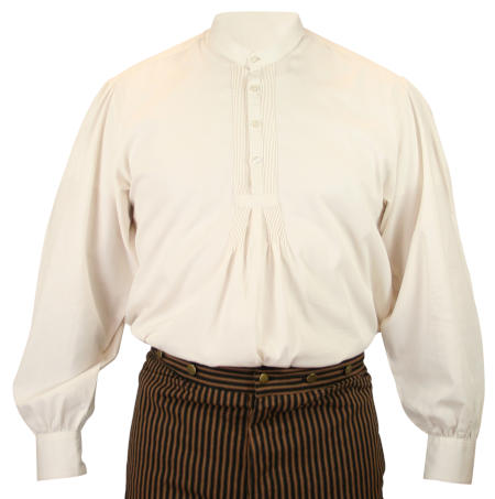 Vintage Mens Ivory Cotton Solid Band Collar Work Shirt   Romantic   Old Fashioned   Traditional   Classic    Bridger Work Shirt - Natural