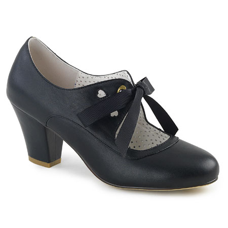 Wedding Ladies Black Faux Leather Solid Shoes | Formal | Bridal | Prom | Tuxedo || Flapper Sweetheart Shoe - Black Faux Leather