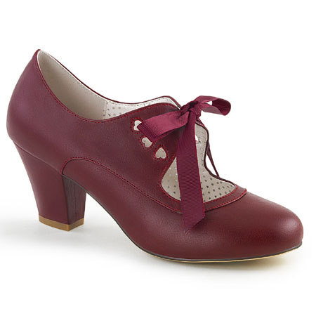 Wedding Ladies Burgundy,Red Faux Leather Solid Shoes | Formal | Bridal | Prom | Tuxedo || Flapper Sweetheart Shoe - Burgundy Faux Leather
