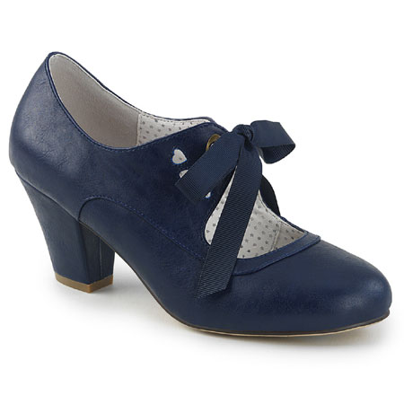Victorian Ladies Blue Faux Leather Solid Shoes | Dickens | Downton Abbey | Edwardian || Flapper Sweetheart Shoe - Navy Faux Leather