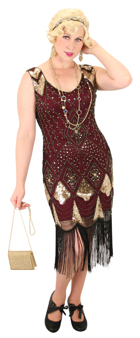 Vintage Ladies Burgundy,Red Beaded Design Dress | Romantic | Old Fashioned | Traditional | Classic || Gilda Flapper Dress - Burgundy