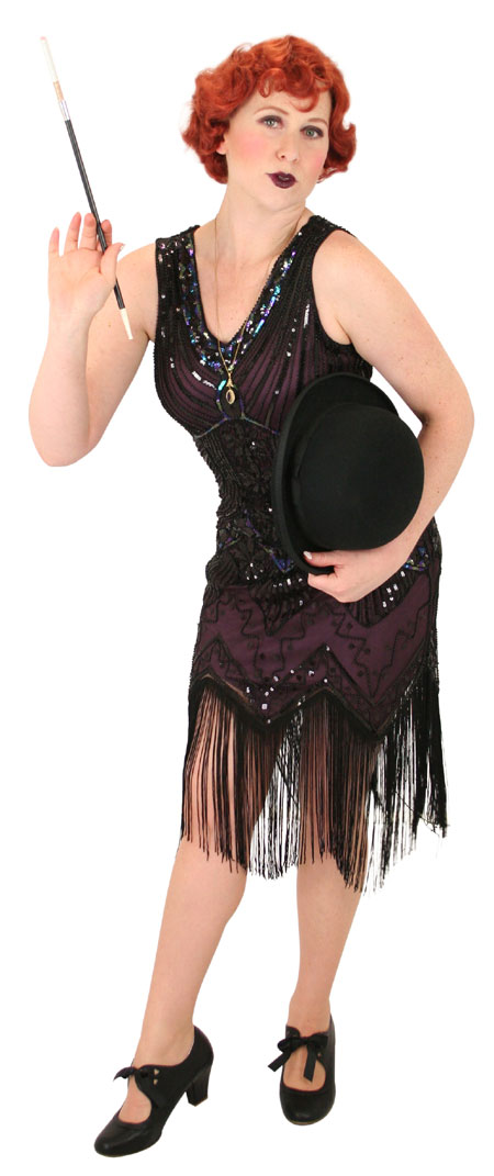 Wedding Ladies Purple Beaded Design Dress | Formal | Bridal | Prom | Tuxedo || Tallulah Flapper Dress - Purple