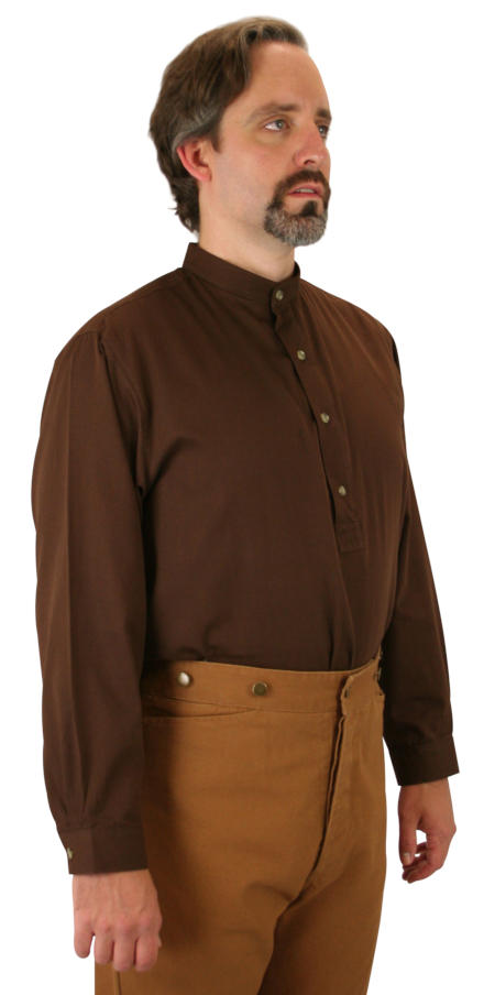Vintage Mens Brown Cotton Solid Band Collar Work Shirt | Romantic | Old Fashioned | Traditional | Classic || Zebulon Work Shirt - Brown