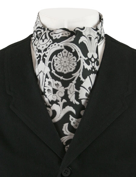 1800s Mens Black,Silver,Gray Floral Ascot | 19th Century | Historical | Period Clothing | Theatrical || Penworth Ascot - Black