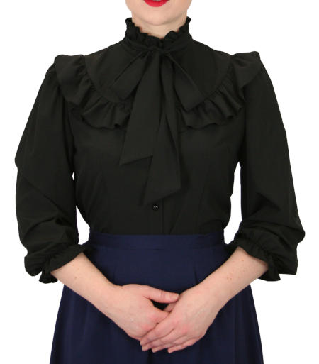 Victorian Ladies Black Solid Stand Collar Blouse | Dickens | Downton Abbey | Edwardian || Dorothy Edwardian Jabot Blouse - Black
