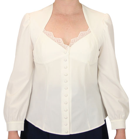 1800s Ladies White Solid No Collar Blouse   19th Century   Historical   Period Clothing   Theatrical    Johanna Victorian Blouse - White