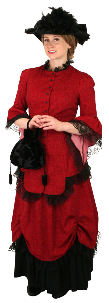 Vintage Ladies Red Cotton Floral Dress | Romantic | Old Fashioned | Traditional | Classic || Lucille Walking Suit - Red/Black Leaf