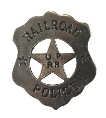 Steampunk Mens Silver Alloy Badge | Gothic | Pirate | LARP | Cosplay | Retro | Vampire || Old West Badge - Railroad Police