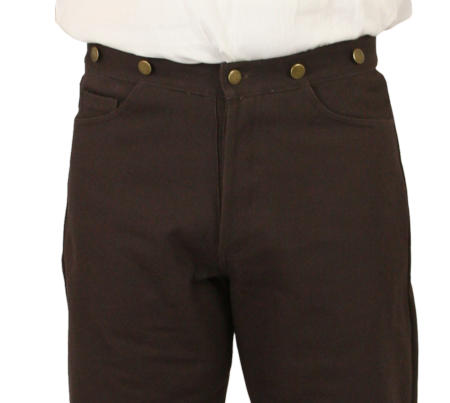 Vintage Mens Brown Cotton Solid Work Pants | Romantic | Old Fashioned | Traditional | Classic || Broomfield Pants - Brown