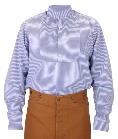 Victorian Mens Blue Cotton Stripe Stand Collar Work Shirt | Dickens | Downton Abbey | Edwardian || Thurman Shirt - Blue Stripe