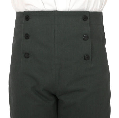 Regency Fall Front Trousers - Charcoal Brushed Cotton