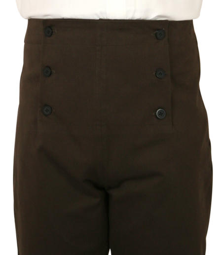 Steampunk Mens Brown Cotton Solid Fall Front Trousers,Dress Pants | Gothic | Pirate | LARP | Cosplay | Retro | Vampire || Regency Fall Front Trousers - Brown Twill