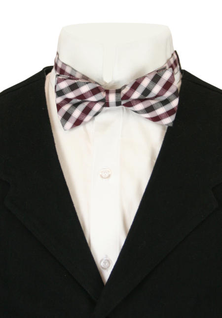 1800s Mens Burgundy,Red,White Plaid Bow Tie | 19th Century | Historical | Period Clothing | Theatrical || Keen Bow Tie - Burgundy Plaid