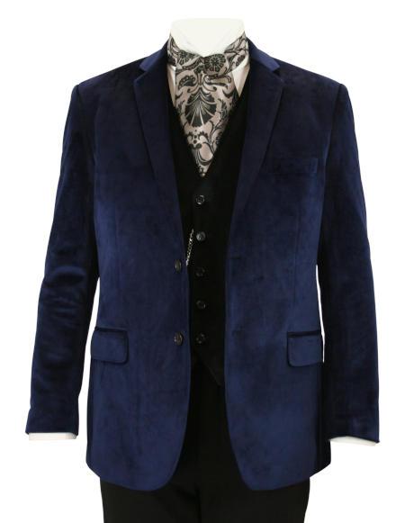 Victorian Mens Blue Velvet Solid Notch Collar Smoking Jacket | Dickens | Downton Abbey | Edwardian || Maxwell Smoking Jacket - Navy Blue Velvet