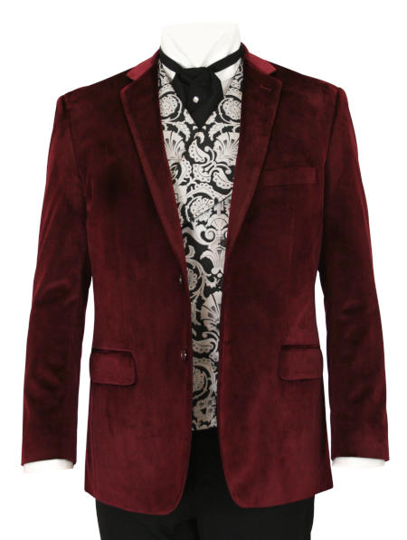 Victorian Mens Burgundy,Red Velvet Solid Notch Collar Smoking Jacket | Dickens | Downton Abbey | Edwardian || Maxwell Smoking Jacket - Burgundy Velvet