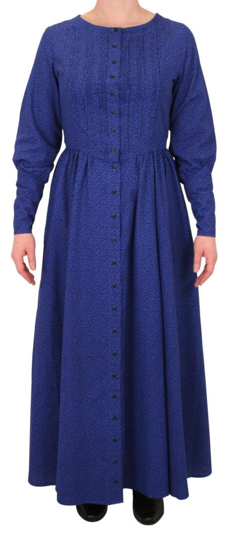 Beatrice Prairie Dress - Royal Blue Leaf