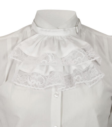 Victorian Wide Lace Jabot - White