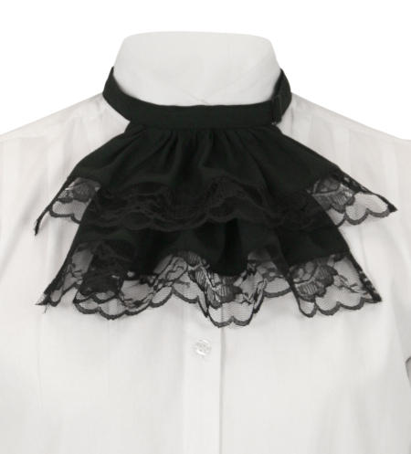 Victorian Ladies Black Lace,Cotton Jabot | Dickens | Downton Abbey | Edwardian || Victorian Wide Lace Jabot - Black