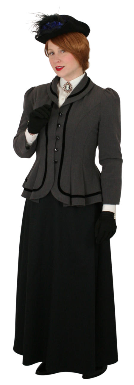 Vintage Ladies Gray Shawl Collar Outing Jacket | Romantic | Old Fashioned | Traditional | Classic || Augusta Outing Jacket - Gray
