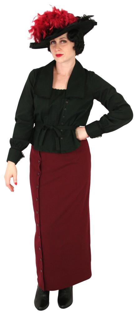 Victorian Ladies Black Cotton Solid Blouse | Dickens | Downton Abbey | Edwardian || Pauline Blouse - Black